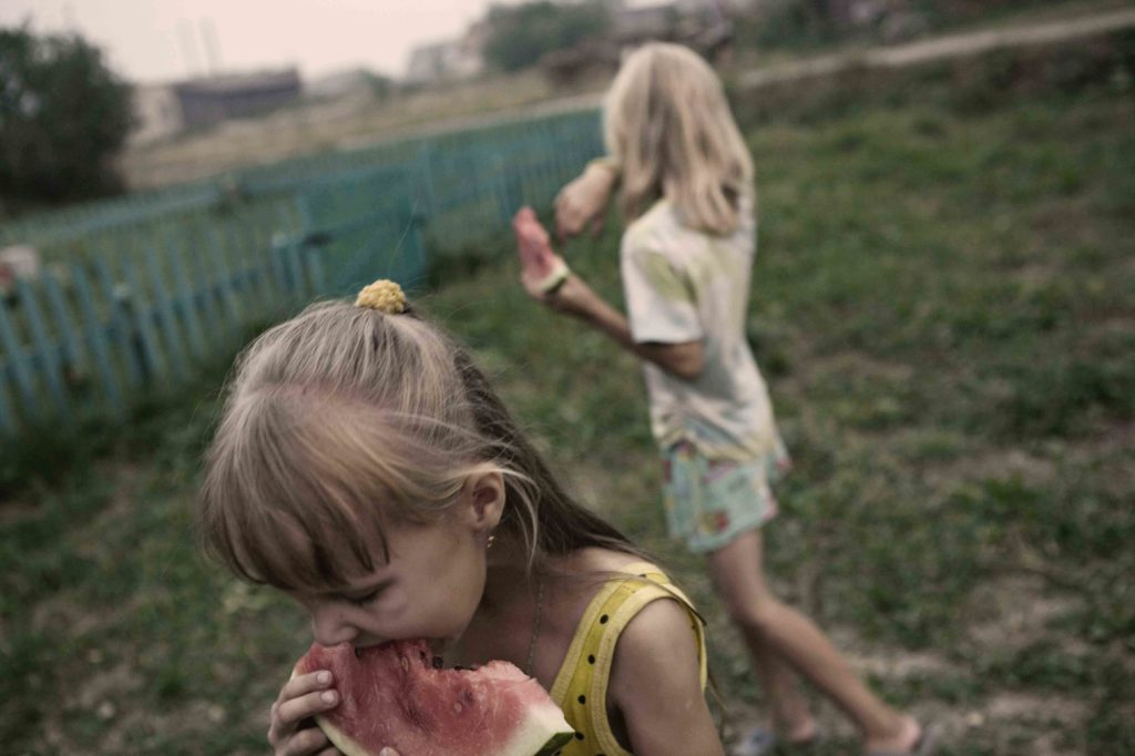 In short Russian summers, life takes place completely outside. Water mellon in the afternoon. Tonshaevo village.